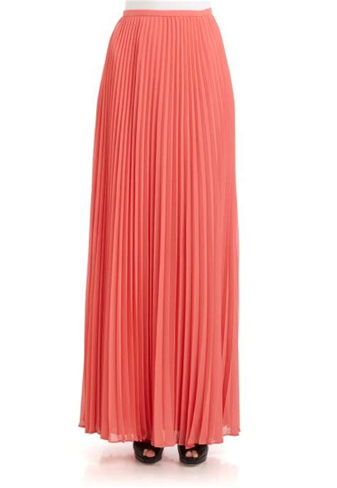heritage accordion pleated chiffon maxi skirt in