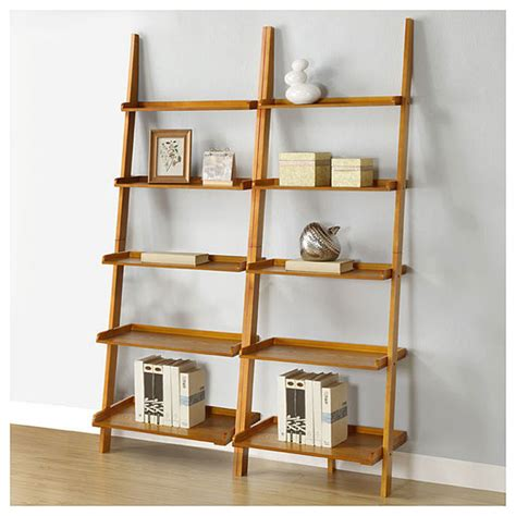 oak five tier 2 leaning ladder shelf set
