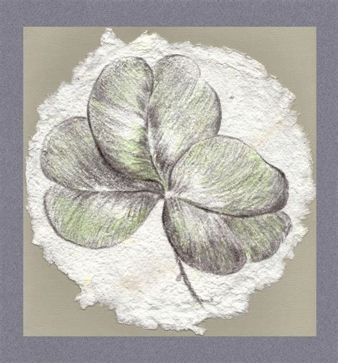 Handmade Drawing Paper - shamrock on handmade paper drawing by mm
