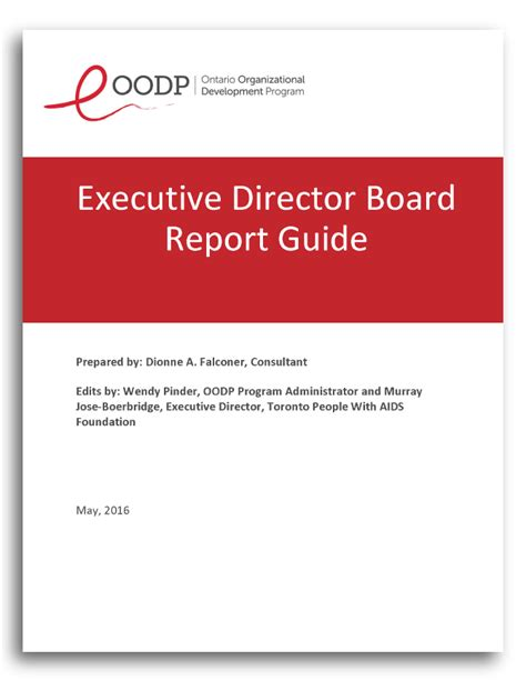 Ed Board Report Guide The Ontario Organizational Development Program Oodp Executive Director Review Template