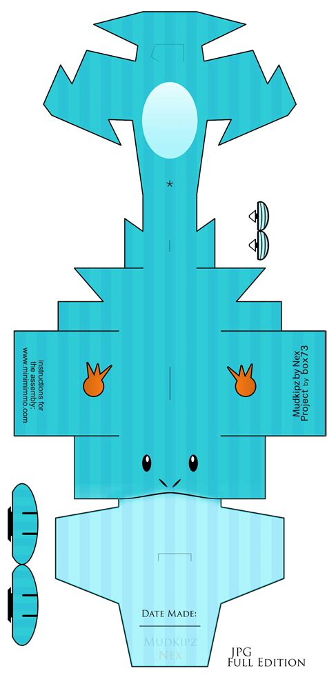 Easy Papercraft Templates - 7 best images of printable papercraft mudkip