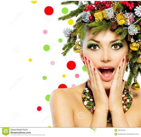 christmas woman stock photo image of hair funny