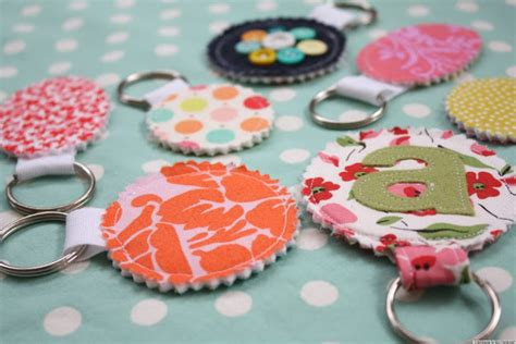 Handmade Gift Ideas - gift ideas fabric scrap keychains for