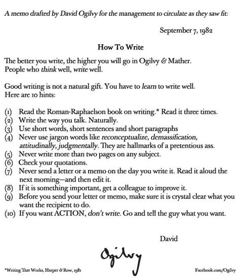 Memo Writing Tips Ogilvy Mather On Quot How To Write A Memo From Davidogilvy Http T Co Recndqwx8z Quot