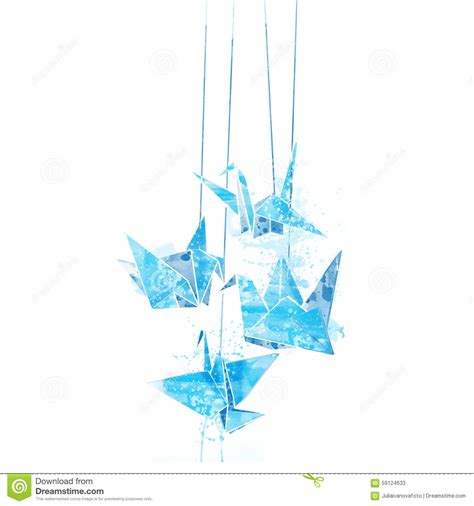 watercolor paper cranes origami stock illustration image 59124633