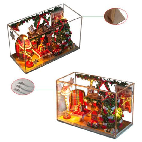 wooden doll houses kits diy wooden doll houses miniature clear cover kits assembled light living room sale
