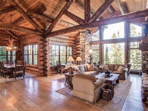 open floor plan and of light log timber frame