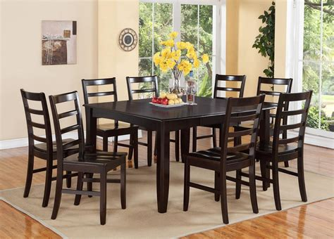 Dining Room Table 8 Chairs 9 Pc Square Dinette Dining Room Table Set And 8 Wood Seat Chairs In Cappuccino Ebay
