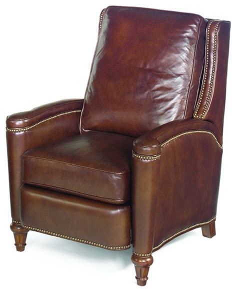recliner armchair leather leather recliner w cushioned seat and back traditional