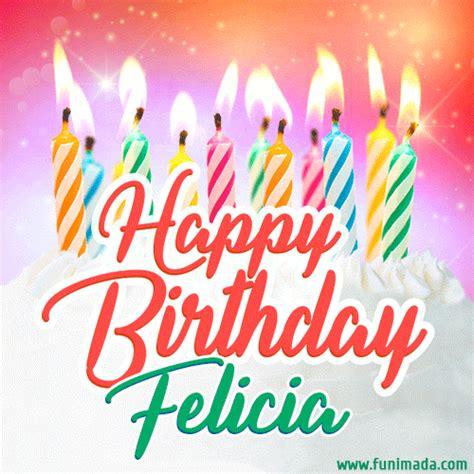 happy birthday gif  felicia  birthday cake  lit candles   funimadacom
