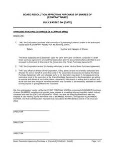 resolution of trustees template board resolution approving purchase of shares template