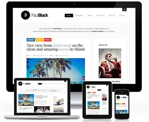themes wordpress personal wp theme of the day 267 paulblack personal blog