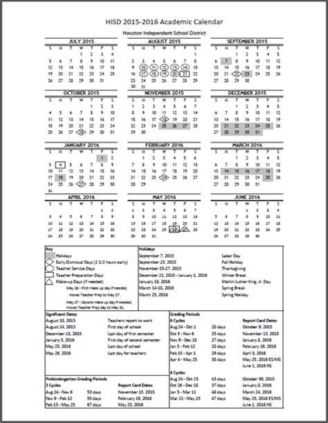 Durham Schools Calendar Hisd Calendar 2016 Calendar Template 2016