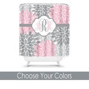 items similar to pink gray shower curtain custom monogram
