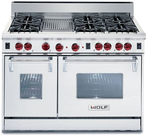 gr486c wolf gr486c gas ranges wolf r486c 48 inch pro style gas range with 6 dual brass open burners 4 4 cu ft convection