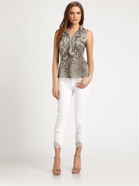 Selena Blouse 2 elie tahari silk selena blouse in gray lyst
