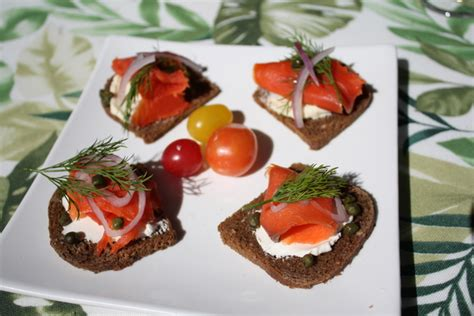 german canapes pumpernickel canape with lox
