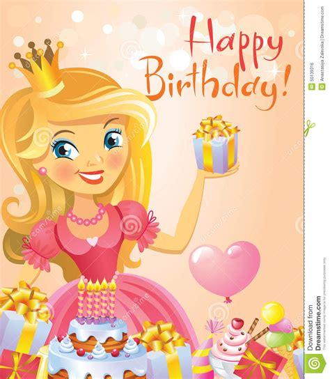 imagenes de feliz cumpleaños princesa feliz cumplea 241 os princesa tarjeta de felicitaci 243 n stock