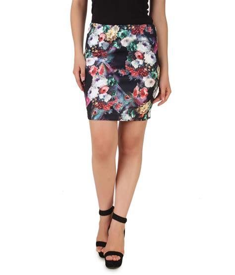 buy nod black 95 polyester 5 spandex printed skirt for