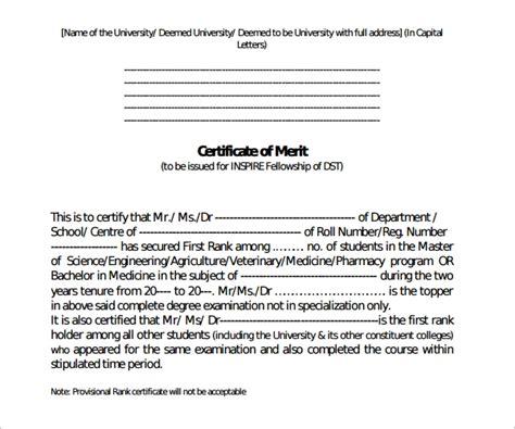 9 certificate of merit sample weekly template