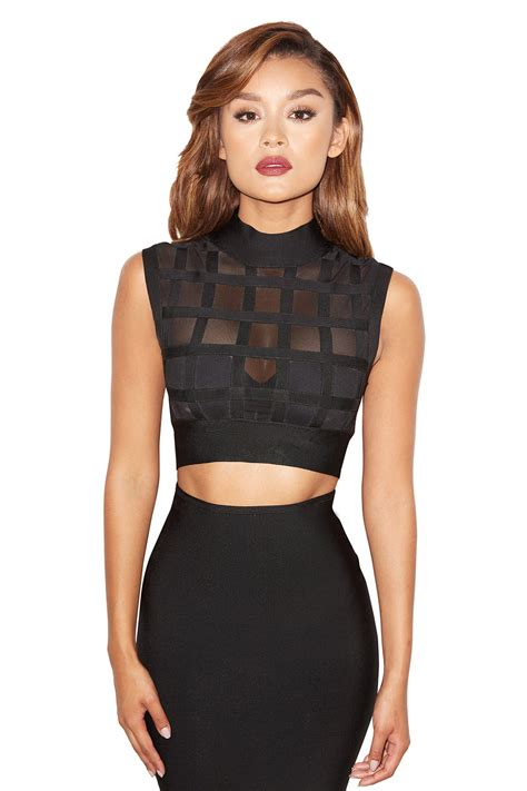 Mesh Top clothing tops black bandage and mesh cropped top