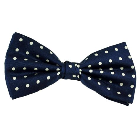 navy blue white polka dot silk bow tie from ties planet uk
