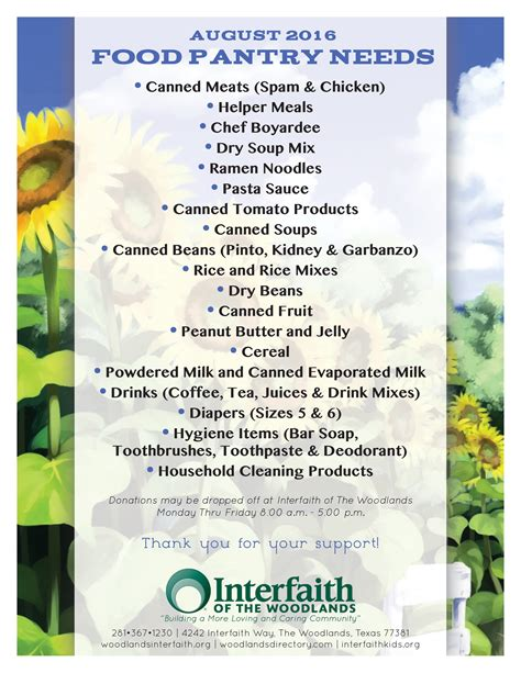 Food Pantry Needs List by Food Pantry Needs August Interfaith Of The Woodlands