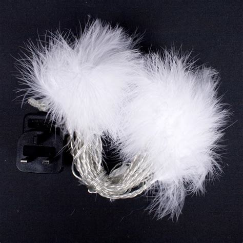 Indoor Static White Fluffy Garland With Warm White Led White Fluffy Lights