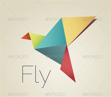 Origami Bird Logo - colorful origami bird graphicriver