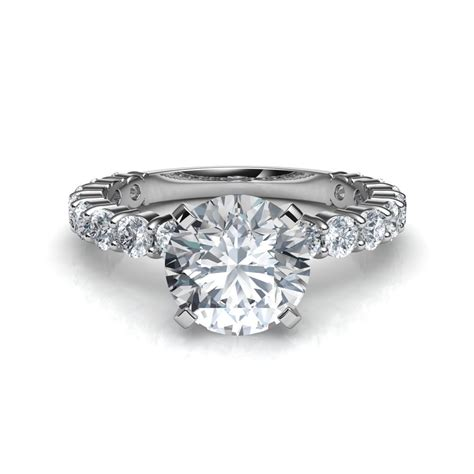 shared prong engagement ring in gold or platinum
