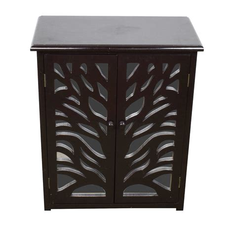 82% OFF   Small Black Wood and Mirrored Chest / Storage