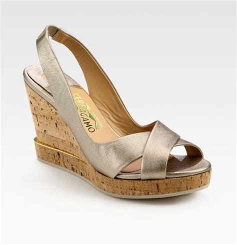 silver cork wedge sandals ferragamo metallic leather slingback cork wedge sandals in