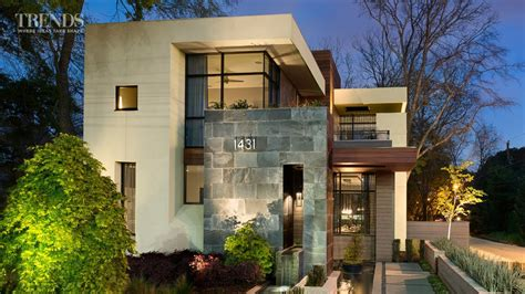 Narrow Lot House Plans With Rear Garage by Contemporary Suburban New Home In Atlanta On Exposed