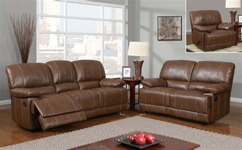 Global Furniture Usa 9963 Reclining Sofa Set Bonded Brown Leather Recliner Sofa Set