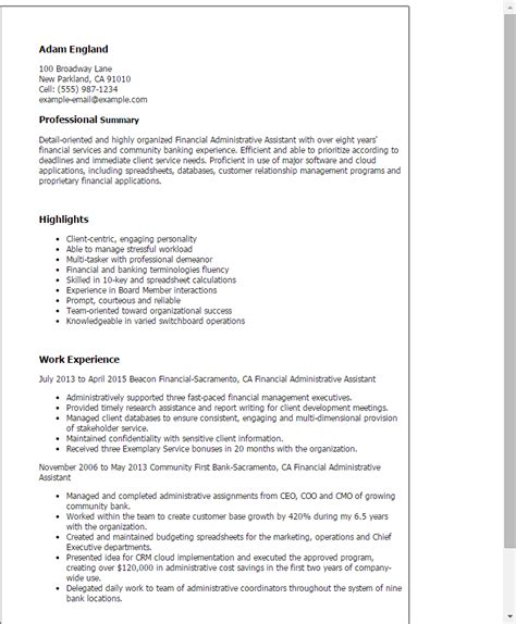 Finance Assistant Sle Resume by 1 Financial Administrative Assistant Resume Templates Try Them Now Myperfectresume