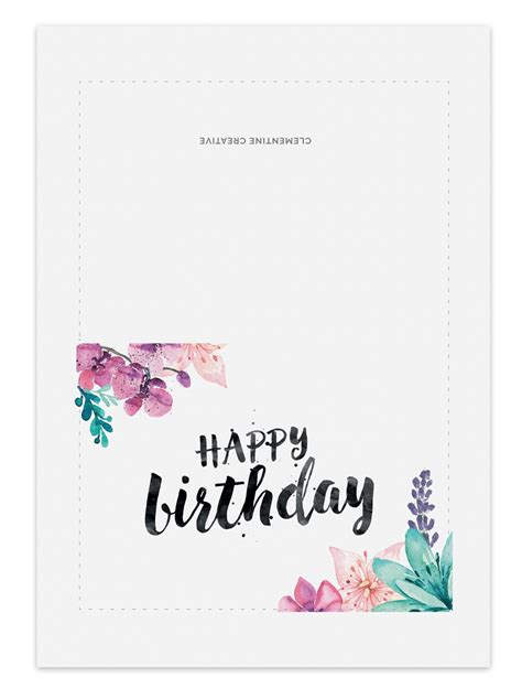 birthday card template floral printable birthday card for