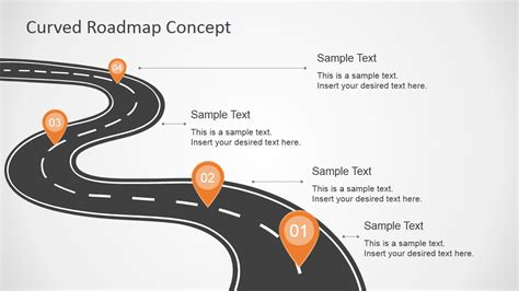 Curved Road Map Concept For Powerpoint Slidemodel Road Map Powerpoint Template Free