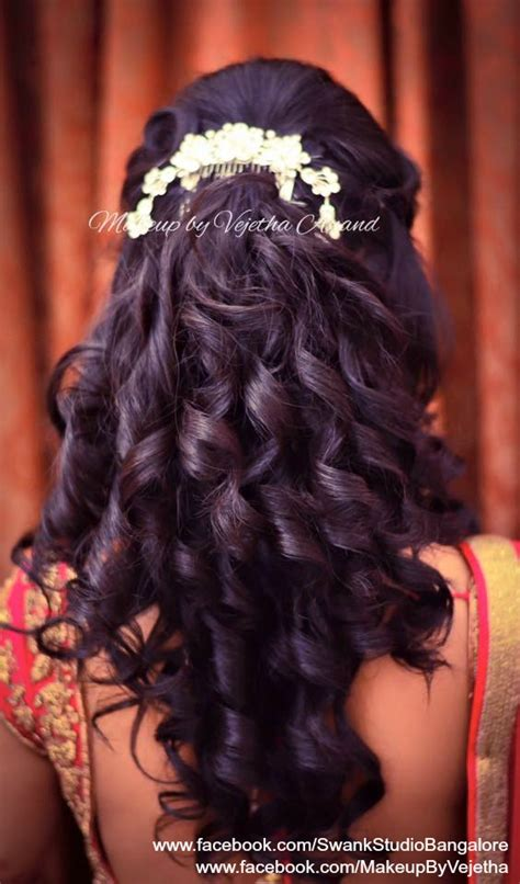 indian hairstyles with curls indian bride s reception hairstyle by vejetha for swank