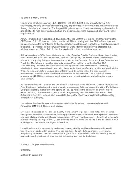 qa engineer cover letter 2009 cover letter quality engineer michael weathers