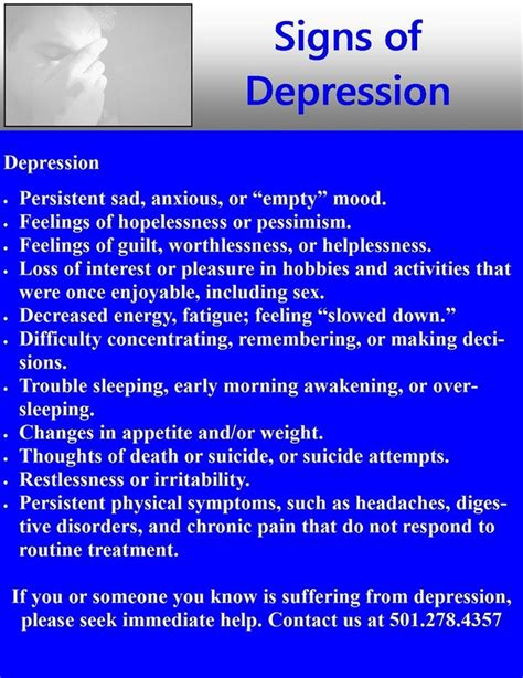 signs symptoms of depression