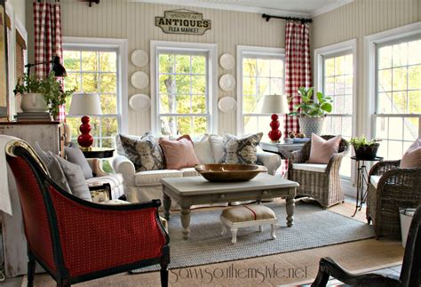 southern country home decor savvy southern style new red gray additions in the sun room