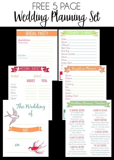 printable wedding planner pages 30 page wedding planning printable set bread booze bacon