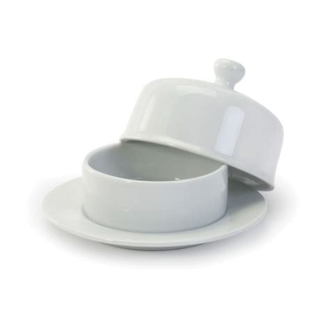 White Porcelain 6 inch Round Butter Dish with Lid   Butter Dishes & Warmers   Serveware