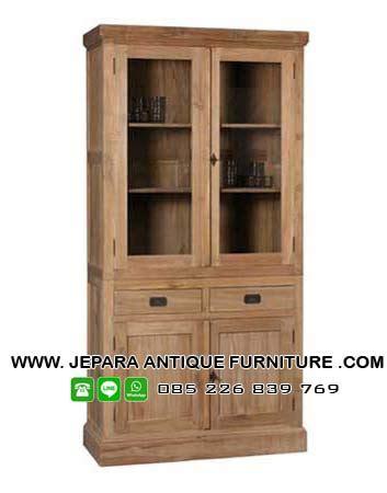 Lemari Kayu Kaca pilihan model lemari kaca klasik kayu jati jepara