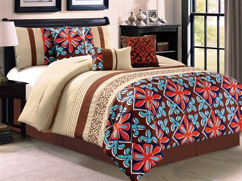 7 pc fleur de lis floral damask embroidery comforter set
