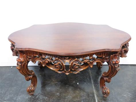 carved wood coffee table ornate carved wood oval coffee table