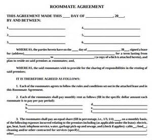 Roommate Agreement Template by Sle Roommate Agreement Template 13 Free Documents