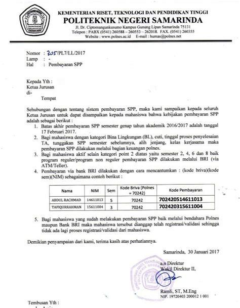 item id 82307 2046 pengumuman prosedur pembayaran spp semester genap 2017