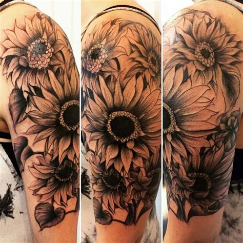 sunflower sleeve tattoo best 25 sunflower shoulder ideas on