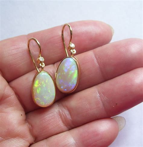 green opal earrings unique 18 carat gold blue green opal